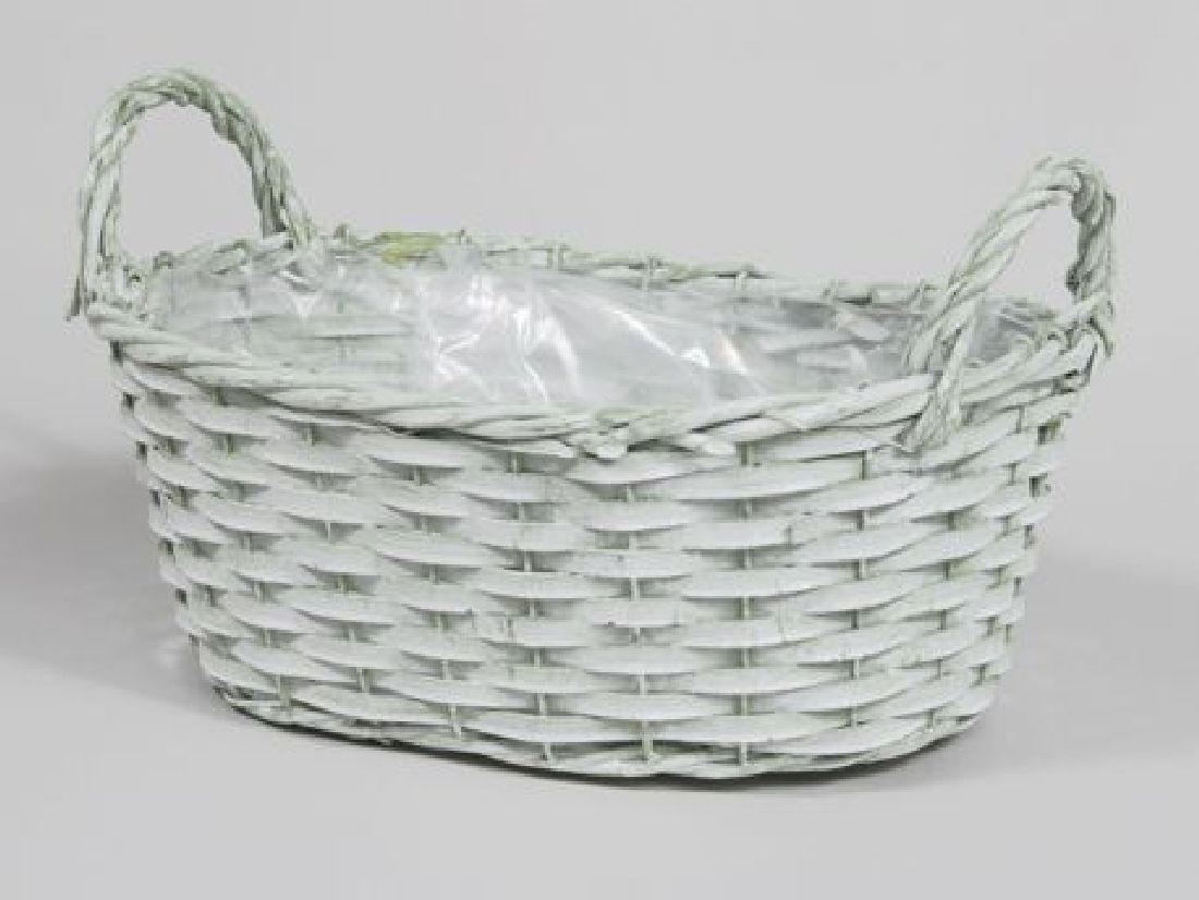 Pflanzkorb Washed-Optik GRÜN-WASHED 351394 oval 26x19x10,5cm