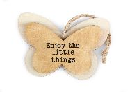 Schmetterling Enjoy... BRAUN 8061211 Hänger Holz ..the little things 12x8x0,8cm