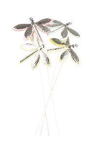 Libelle mint-rosa-gelb-grün 8761320 Stecker 7x5,5cm Metall-Polyest
