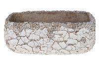 Jardiniere Mosaik ANTIK-WEISS-GRAU Zement 24x13,5x10cm 29976