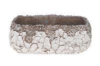 Jardiniere Mosaik ANTIK-WEISS-GRAU Zement 31x17x12cm 29977