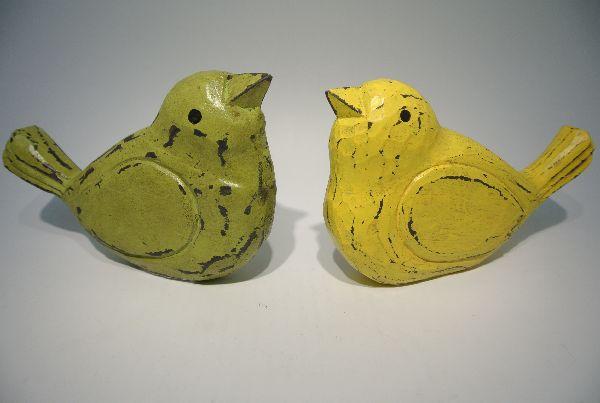 Holzvogel zum Stellen 1x GELB und 1x GRUEN Länge 21,5cm