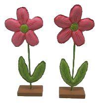 Blume zum Stellen PINK Kunstleder + Holz 9x3,5x21,5cm (LxBxH)