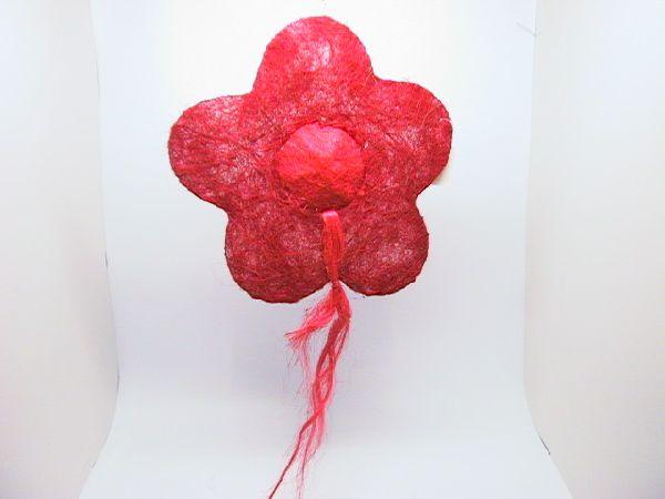 Sisal-Blüte gefüllt rot/hellrot 35cm