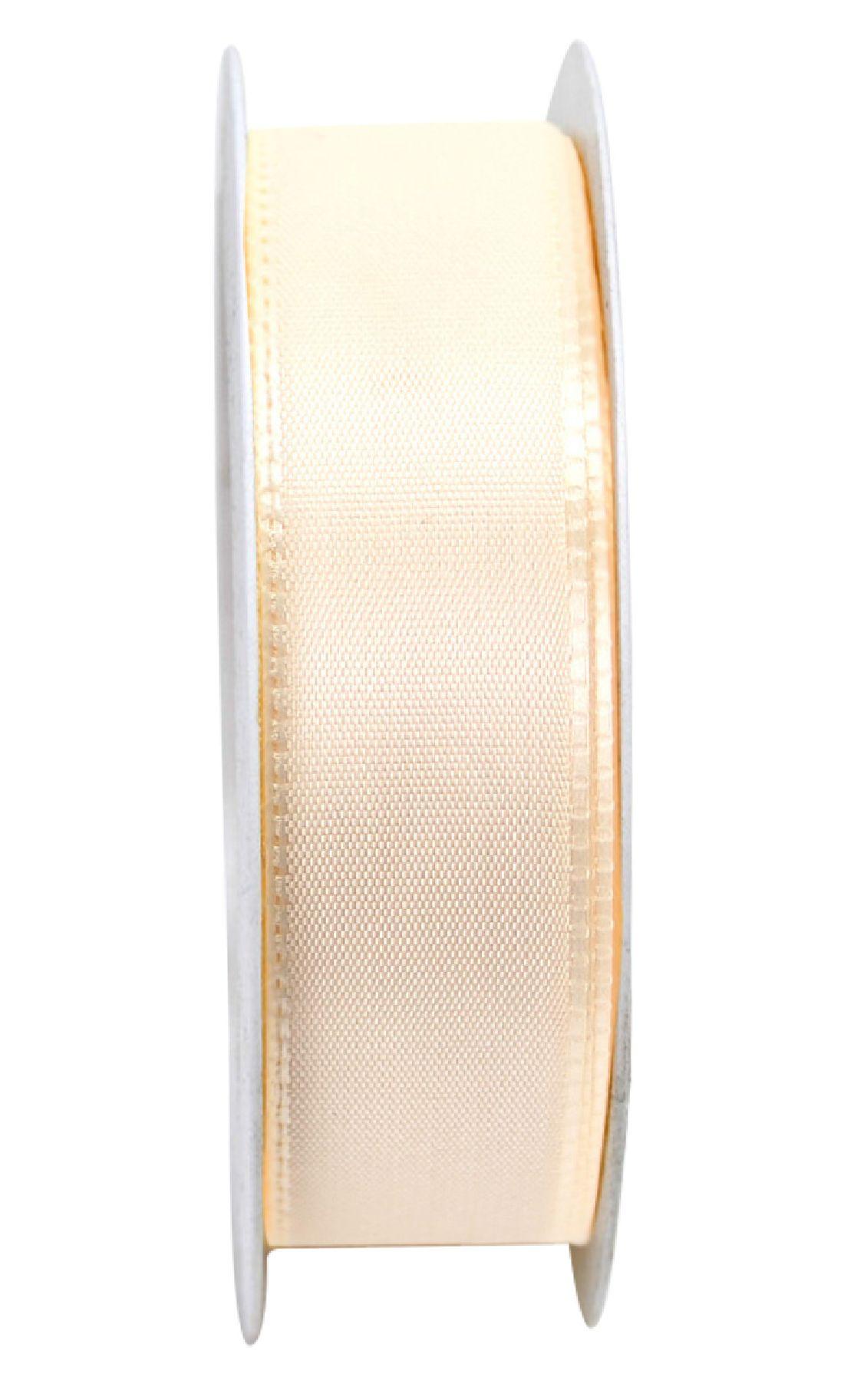 Basic ohne Draht / Taftband CREME 021 25mm 50m