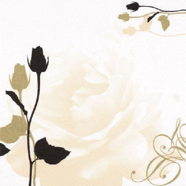 Servietten 33cm Design CREME-GOLD Roses