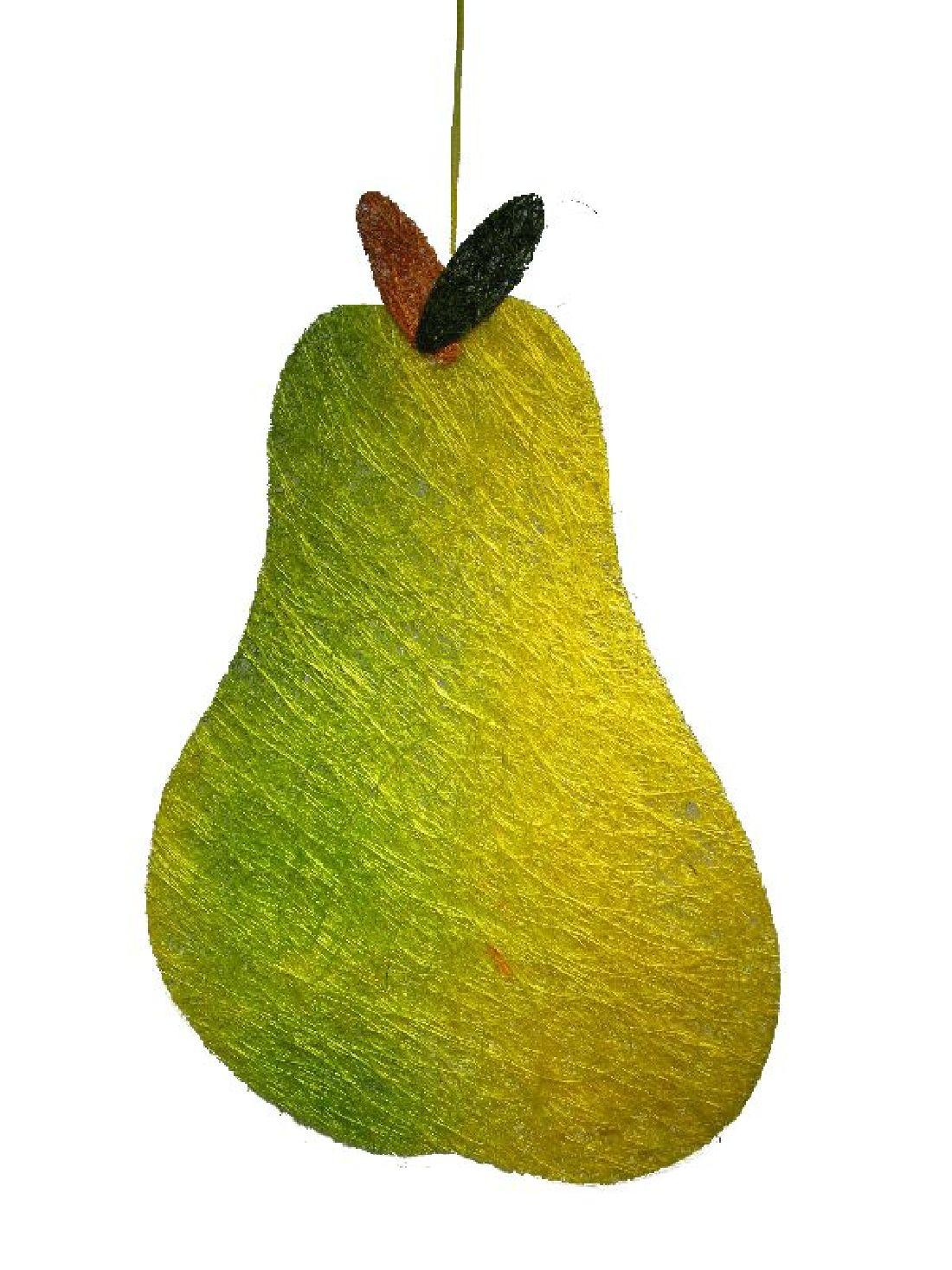 Sisal-Birne mit Hänger gelb-grün groß  19x27,5cm