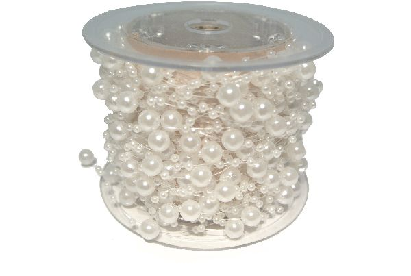 Perlenkette Svenja Perlenband WEISS 8mm + 3mm Länge: 15m