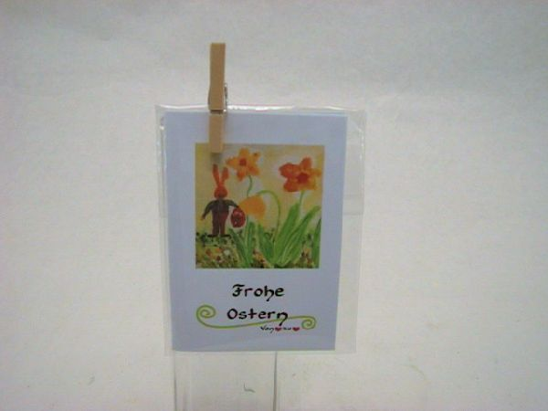 Minikarten Motiv m.Klammer Ostern Osterhase