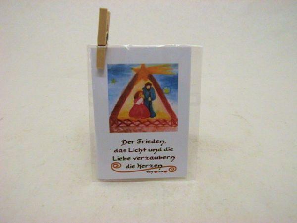 Minikarten Motiv m.Klammer Weihnachten Krippenzauber