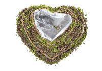 Pflanzherz mit Moos + Rebe natur-Rebe-Moos 21cm 80441 mit Innenfolie