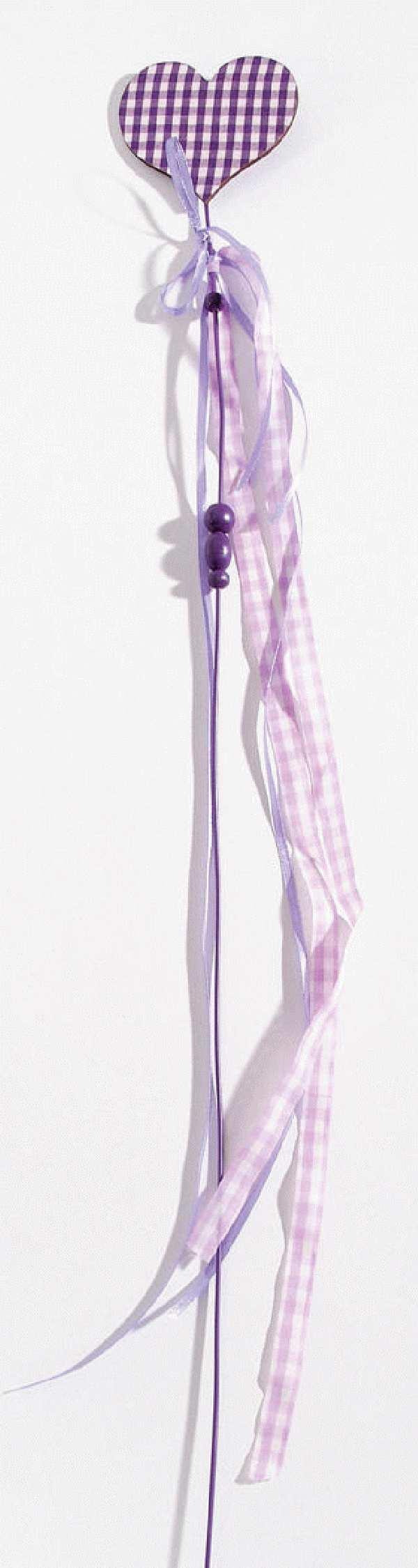 Stecker Herz Caro LILA-WEISS 81981 65cm  Herz=7cm