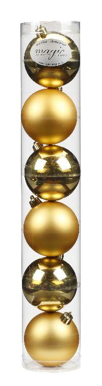 Kugel - Kunststoff - bruchfest 6 Stück GOLD 8101401 Ø80mm, Kunststoff