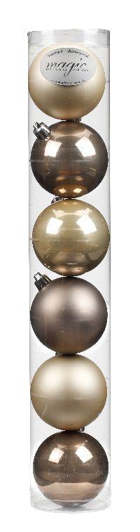 Kugel - Kunststoff - bruchfest 6 Stück COOL-BROWN-MIX Ø80mm, Kunststoff 81014170