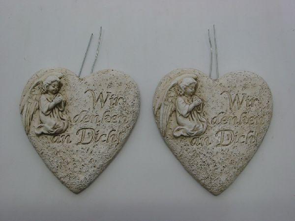 Herz mit Engel und Spruch stein-weiss 8x6x2,5cm  13335 mit Draht zum Stecken 2-fach
