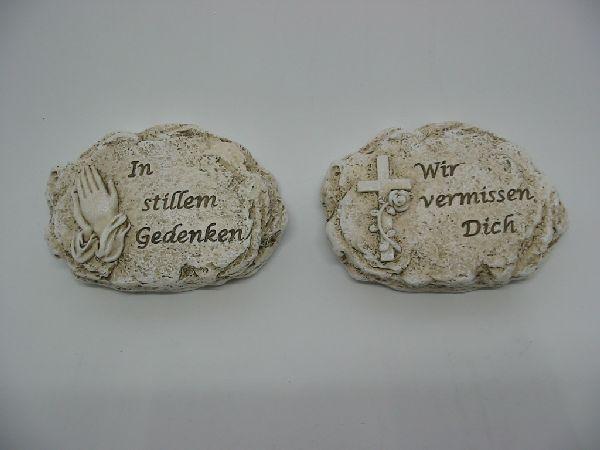 Trauerstein mit Spruch stein-weiss  13350 2-fach  11x8x2,5cm