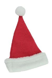 Nikolausmütze/Weihnachtsmütze ROT-WEISS Filz mit Kunstfell 20x14cm 14890