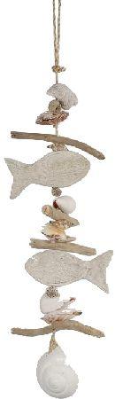 Girlande Driftwood 76922 WEISS ABGEW. L=42cm Maritim mit Fisch+Muscheln
