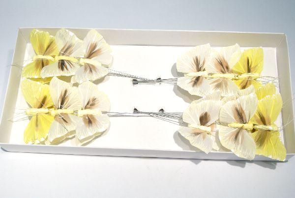 Schmetterling Stecker WEISS-GEMISCHT 5,5cm 14135