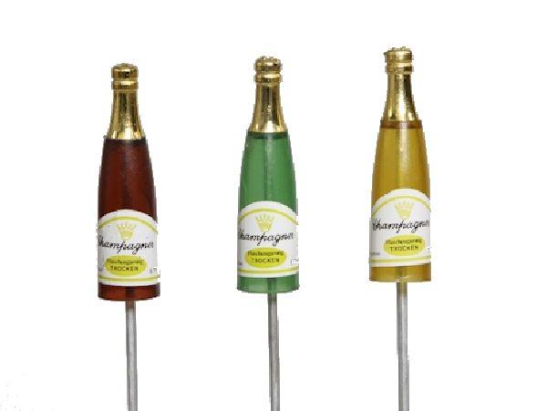 Champagnerflasche/Sektflasche 225030 7,5cm am Pick 3-fach sort.