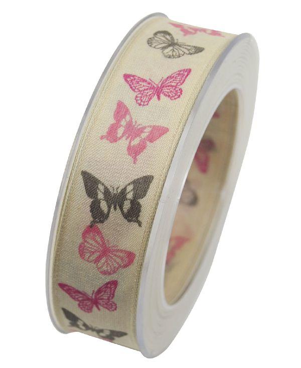 Band Arielle mit Drahtkante PINK X353 24 25mm 20m Schmetterlingsband