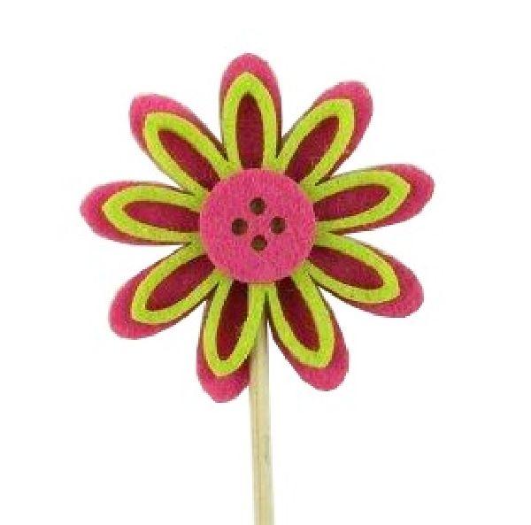 Filzblüte Flowerbutton 15806 PINK-GRUEN Stecker 6x0,9cm L=30cm