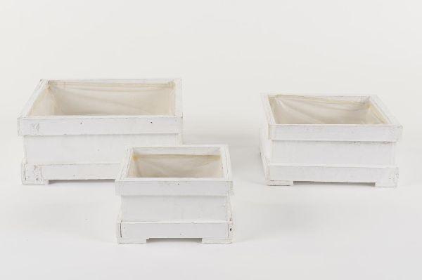 Pflanzkiste aus Holz S/3 10168WHITE-WASH 15,5x15,5x14cm 25x25x10,5/20,5x20,5x10cm