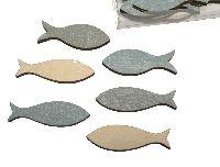 Fisch / Holzfische BLAU-GRAU-WEISS VINTAGE Streu 6,4x2,5cm 24 Stück 47782