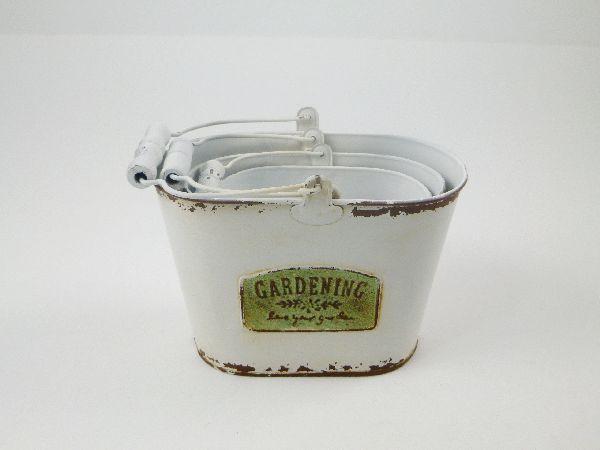 Metall JardinierensetGardening CREME-BRAUN 18,5x11x13cm 13x7,5x9,5/15x9,5x11/zzg.Bügel