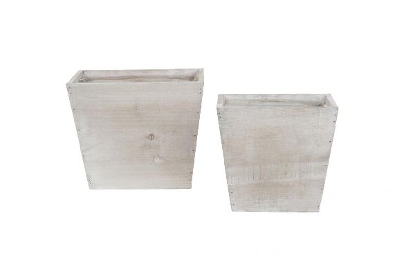 Holzkübel mit Folie S/2 NATUR 12772 18x10x17,5cm/22,5x13,5x19,5cm