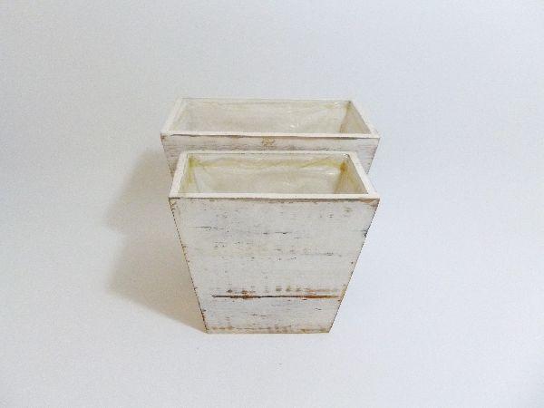Holzpflanztopf-Set S/2 WEISS GEW. 22,5x13,5xH19,5cm 17,5x10xH17,5cm / 13386