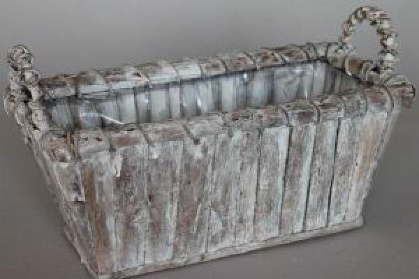 Pflanzkorb/Holzkorb GRAU-WEISS-WASHED 43235 Rechteck 38x17x17cm