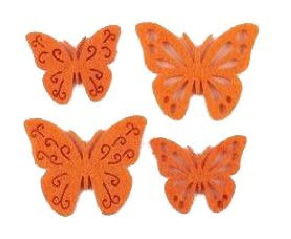 Filzstreu Smati ORANGE 16046  72 Stück Schmetterling 3,5-4cm  4-fach