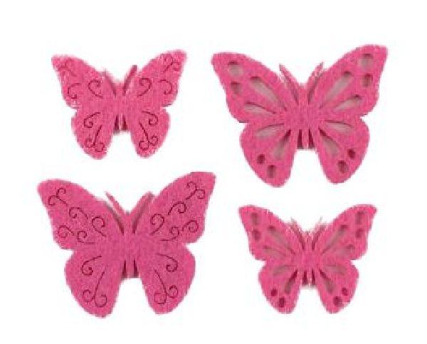 Filzstreu Smati PINK 16046  72 Stück Schmetterling 3,5-4cm  4-fach