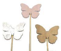 Stecker Swiff GRAUBRAUN-ROSA-WEISS 19265 Schmetterling 6x0,5x5cm Holz
