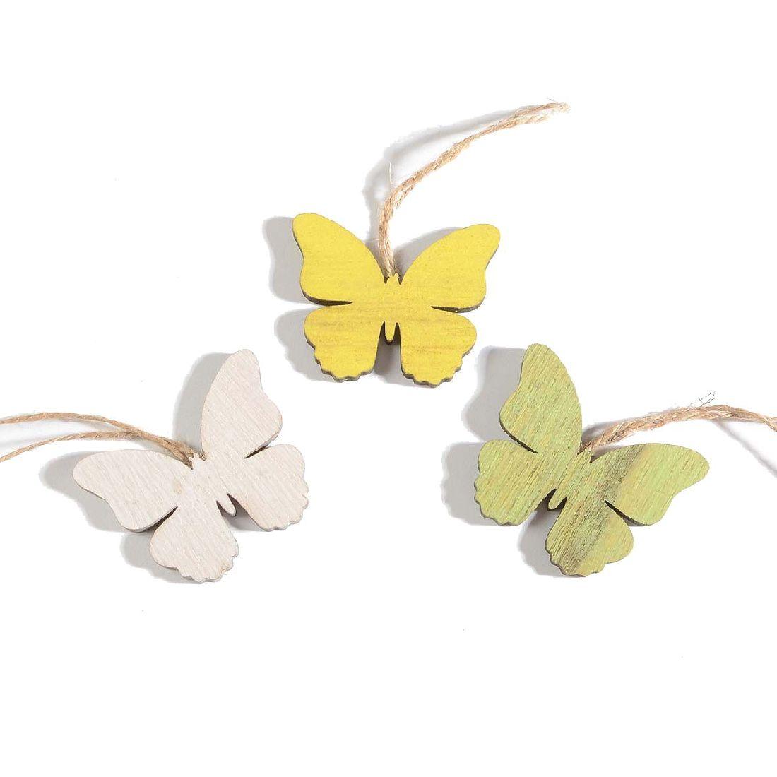 Hänger Swiff GELB-WEISS-GRÜN 35154 3Farben Schmetterling 6x0,5x5cm Holz