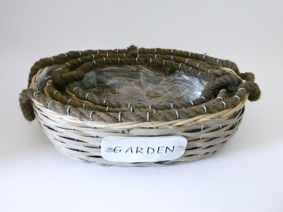 Korb Garden mit Kordelgriff 13140 / 26x18x8cm S/3 26x27x12cm/31x23x10cm/