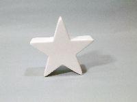 Stern Keramik / Dekostern 40616 WEISS-GLASIERT L=13,5 B=4cm H=13,5cm