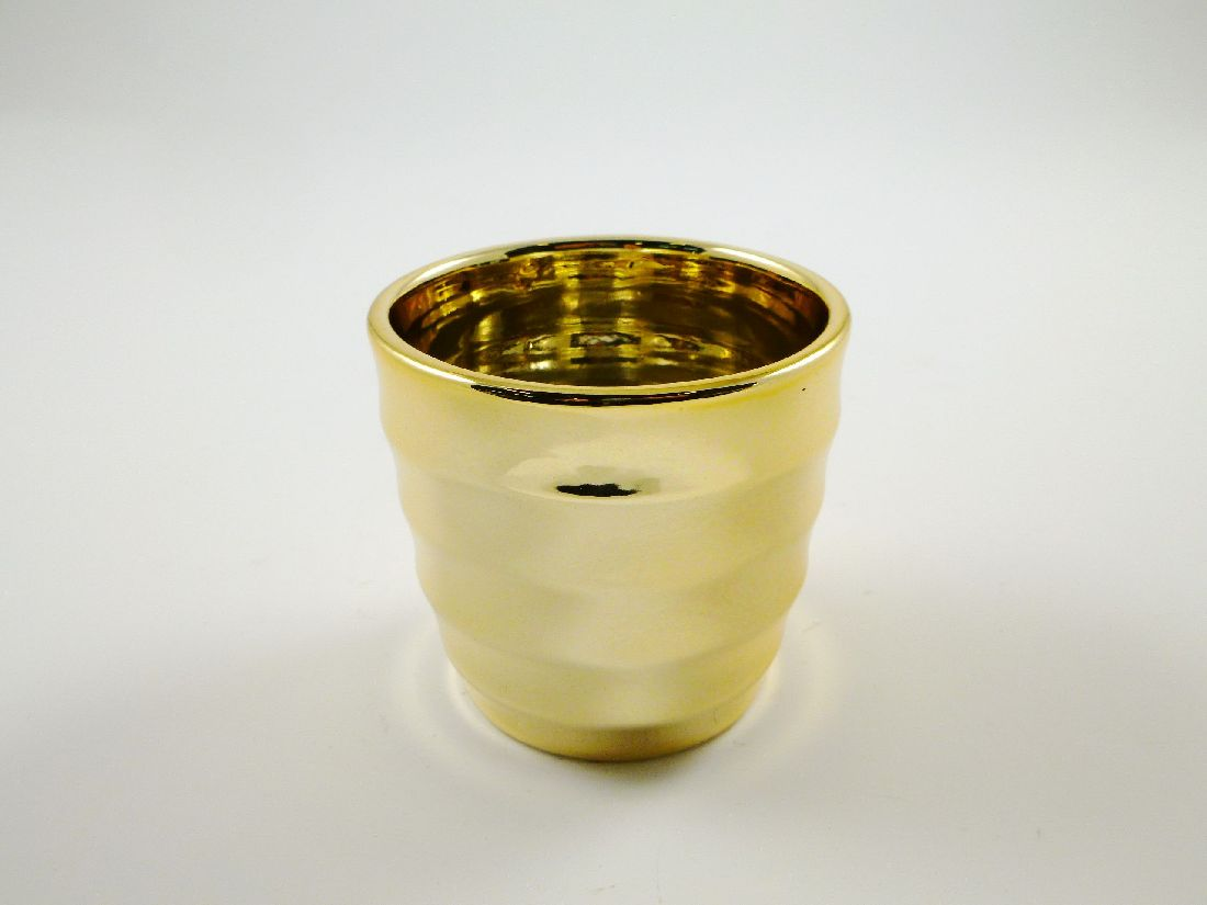Kübel Gotland GOLD GLÄNZEND 10x9cm 59179 gerillt Keramik