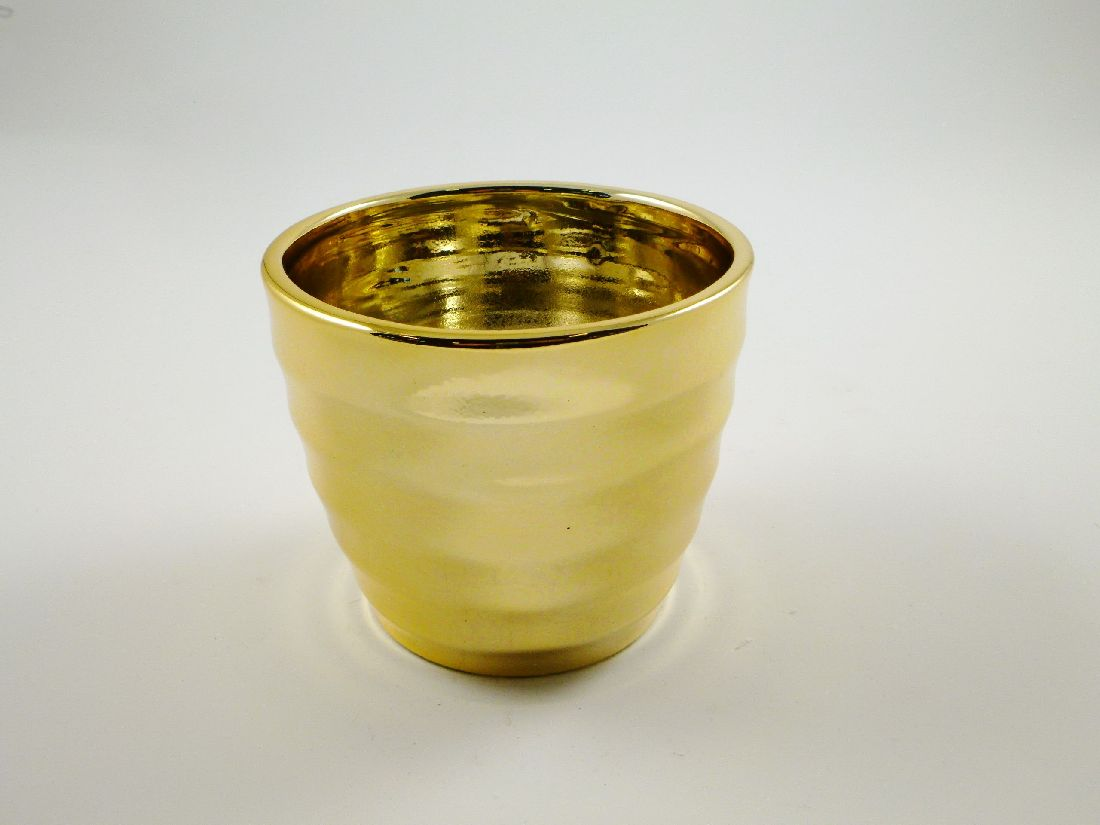 Kübel Gotland GOLD GLÄNZEND 13x11cm 59180 gerillt Keramik