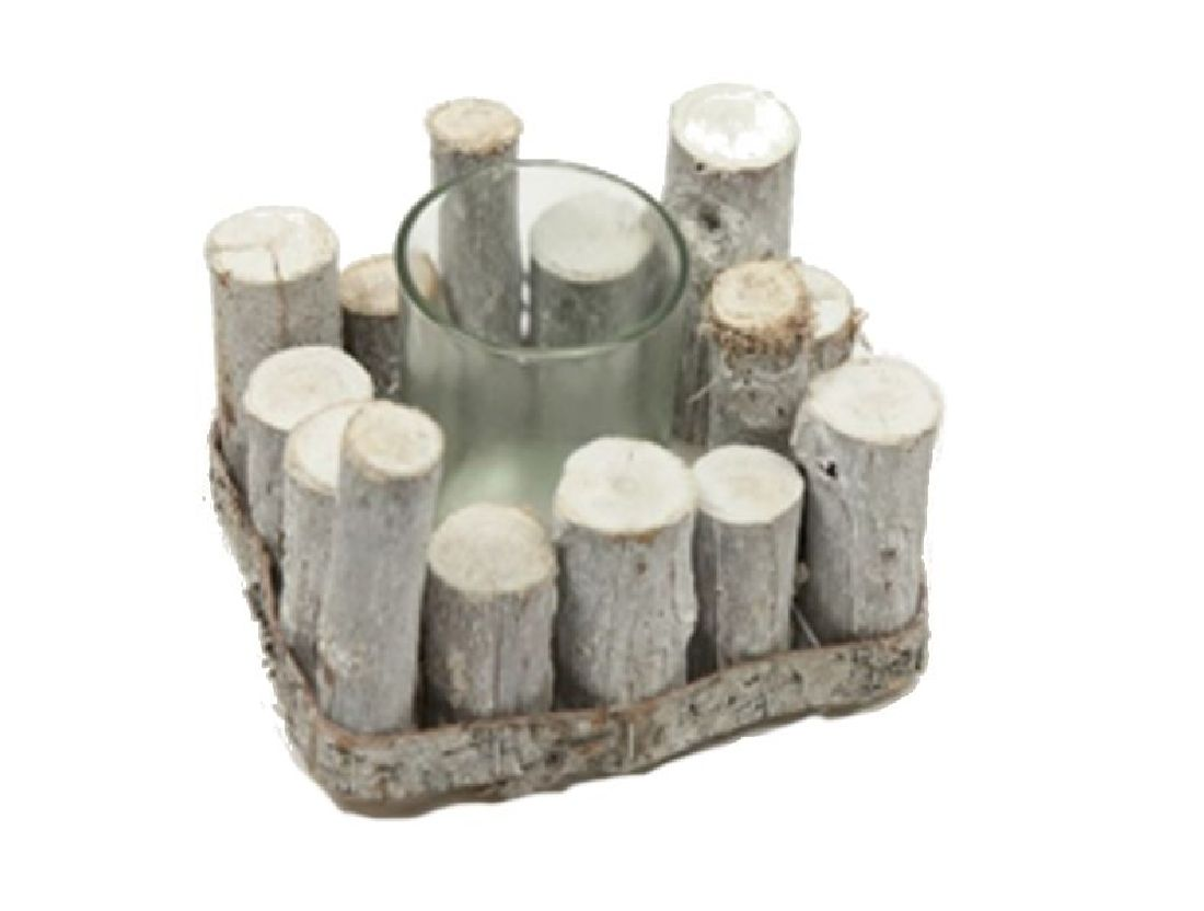 Kerzenhalter Baumstamm WHITE-WASH 22-6703 16,5x12,5cm H:8cm mit Glas