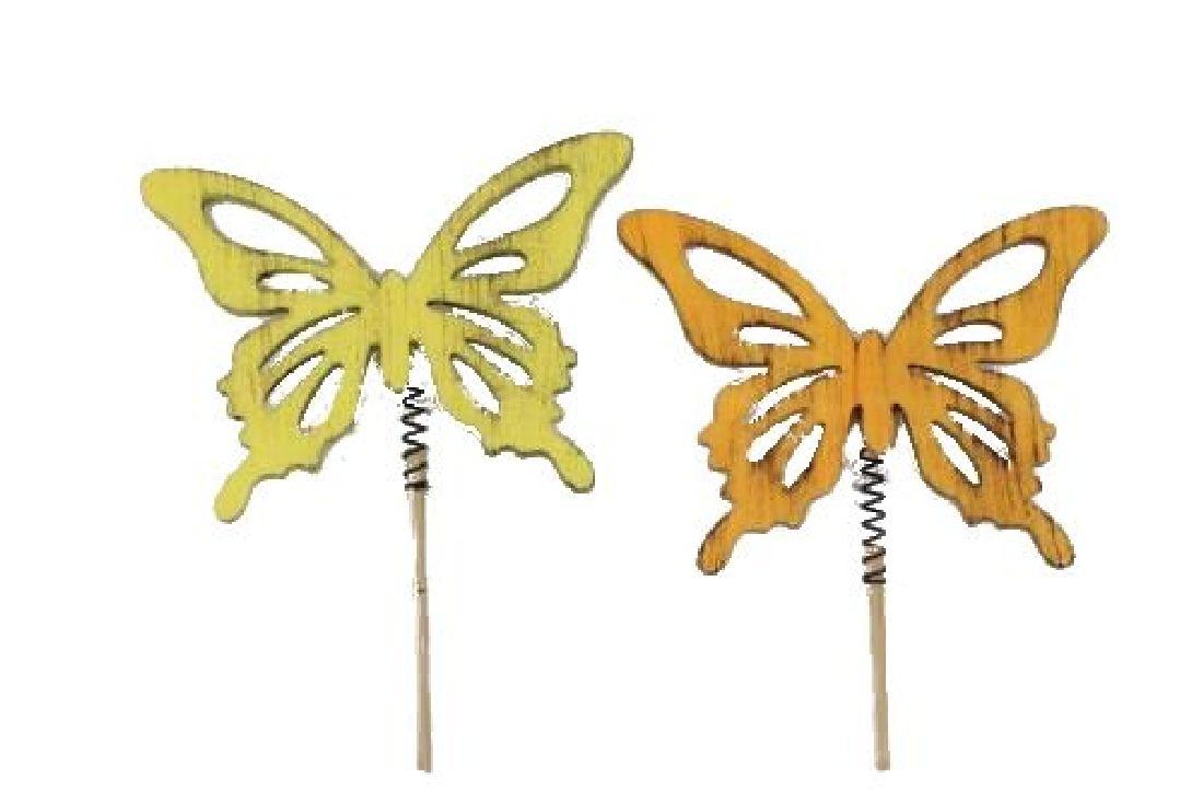 Schmetterling Maguna GELB-ORANGE 17729 Stecker 7x9cm L:25cm Holz