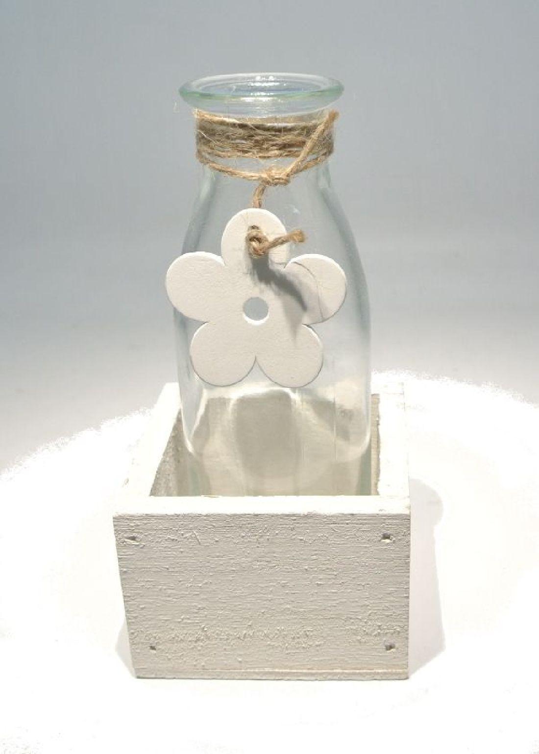 Glasflasche Flower in Holzbox WEISS 17803 1er 7x7xH14,5cm