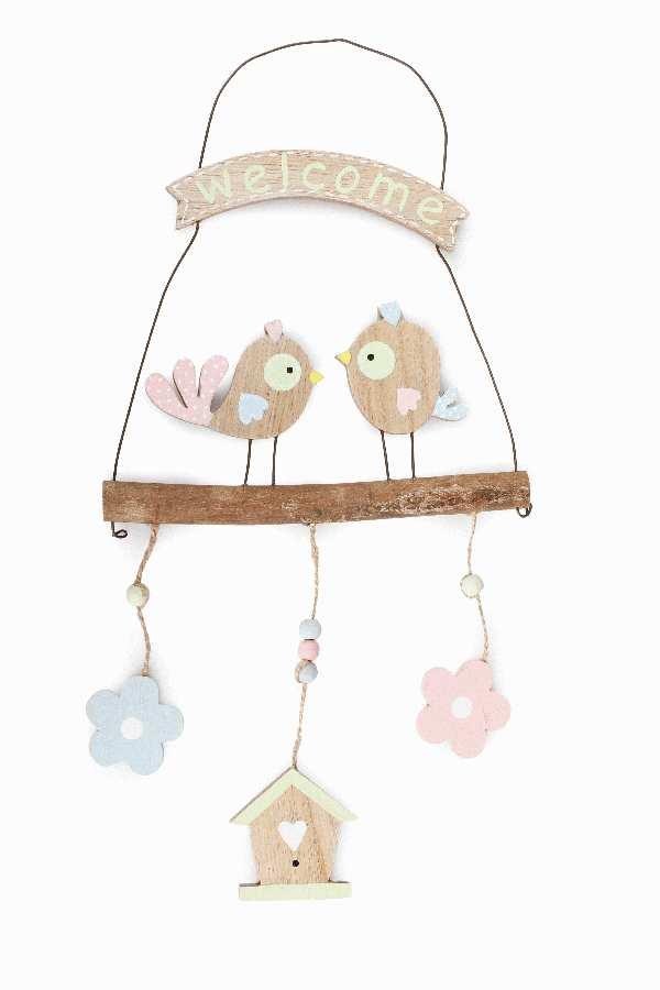 Dekohänger Birdy mit Spruch BUNT 7891207 Holz Welcome B:18cm H:22cm L:38cm