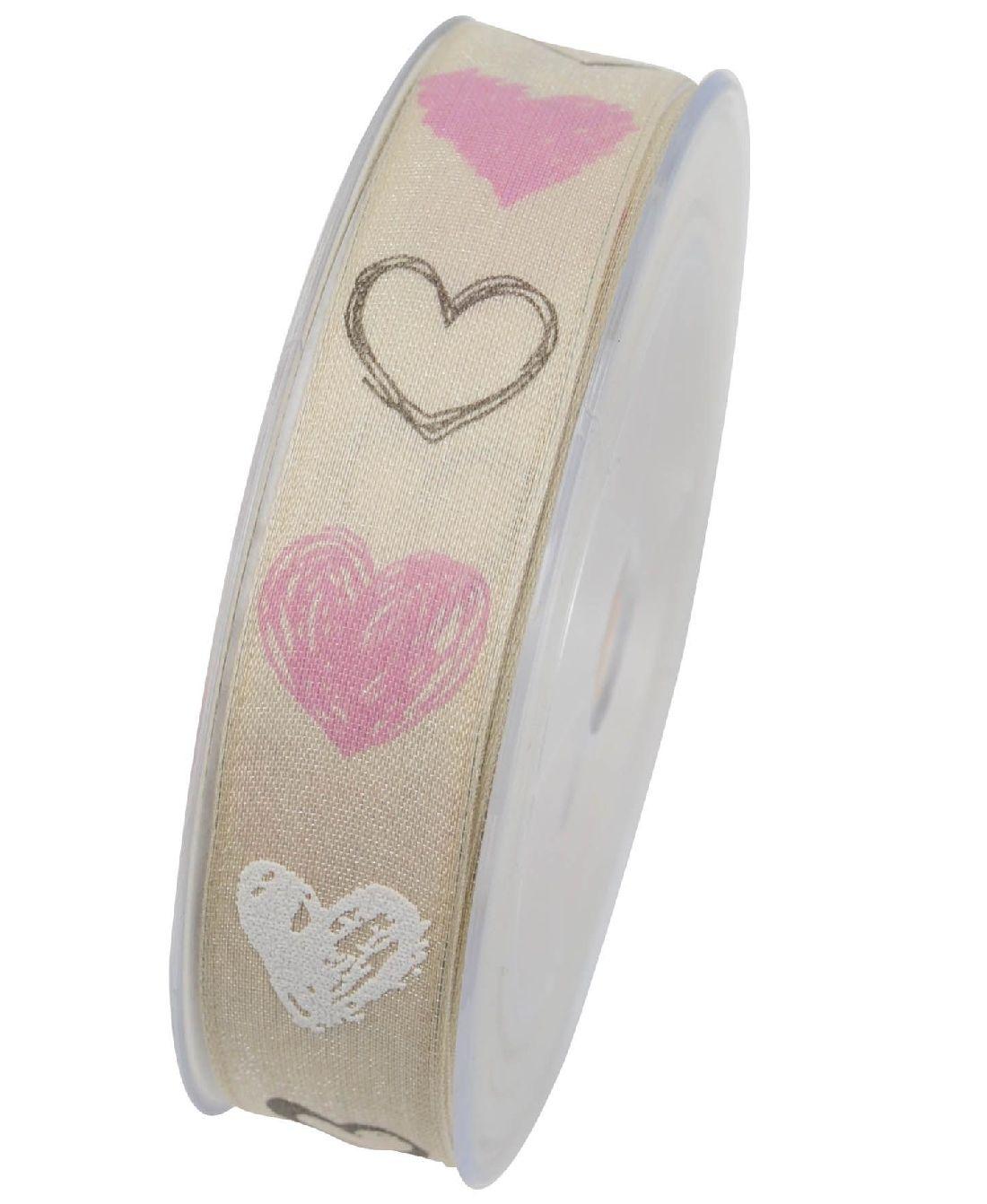 Herzband Heiratsantrag ROSA X752 21 B:25mm L:20Meter mit Draht