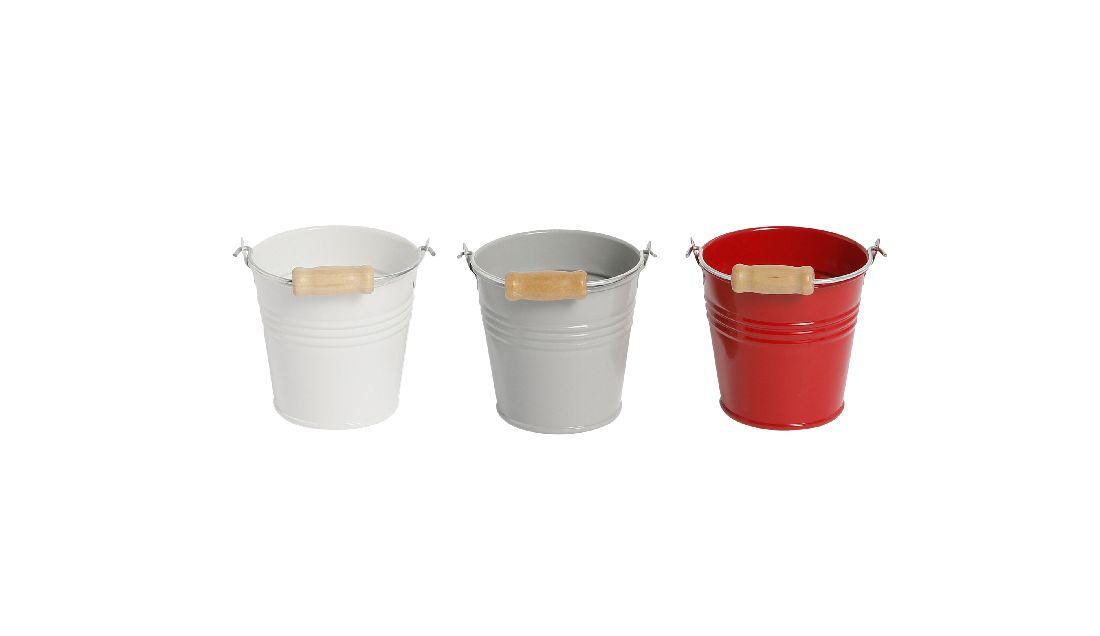 Metalleimer Trio ROT-WEISS-GRAU 3-farbig sort. Ø8,5xH8cm 470841