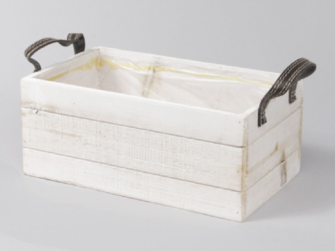 Holzbox mit Kunstledergriffen WEISS 345034 26x15x11cm mit Folie