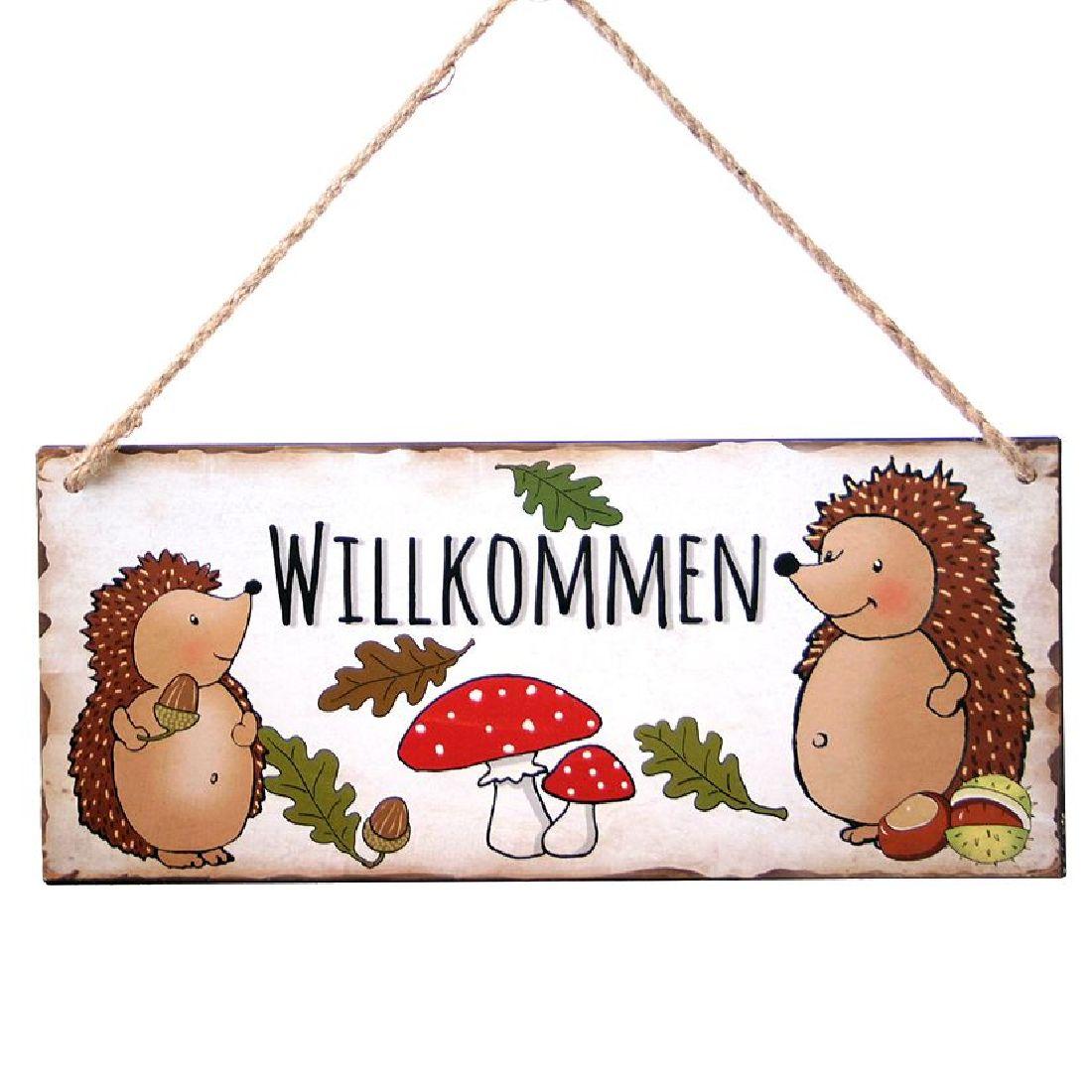 Herbstschild Willkommen ANTIK 61987 mit Juteschnur 30,5x13cm Metall Igel+Pilz