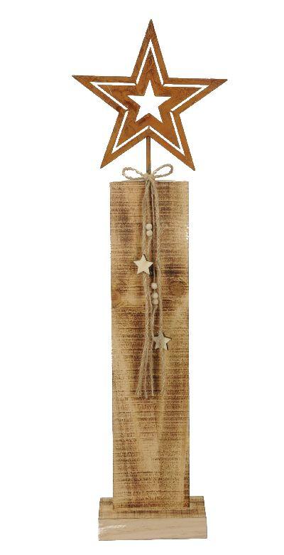 Roststern auf Holzstele BRAUN 491100 21x8xH71,5cm