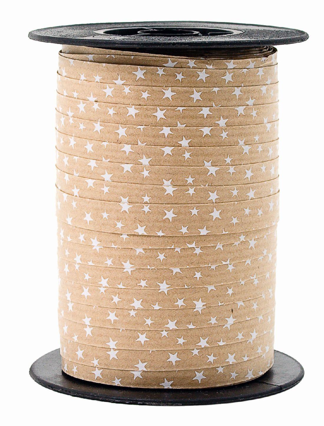 Polyband Spacetime mit Sternen BRAUN-WEISS 01 Ringelband 10mm 100 Meter Ziehband